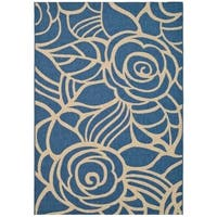 Safavieh Courtyard Roses Blue/ Beige Indoor/ Outdoor Rug - 9' x 12'