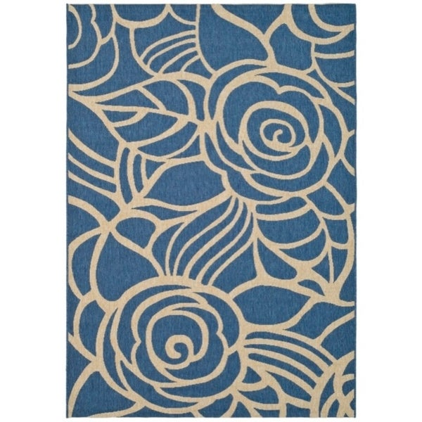 Safavieh Courtyard Roses Blue/ Beige Indoor/ Outdoor Rug - 9' x 12'