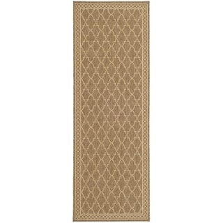 Safavieh Indoor/ Outdoor Courtyard Dark Beige/ Beige Rug (2'4 x 12')