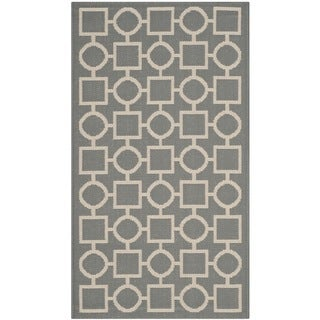 Machine-made Safavieh Indoor/ Outdoor Courtyard Anthracite/ Beige Rug (2' x 3'7)