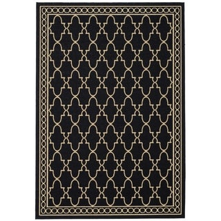 Safavieh Courtyard Trellis All-Weather Black/ Beige Indoor/ Outdoor Rug (9' x 12')