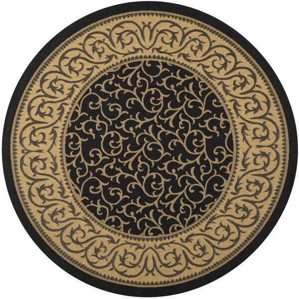 Safavieh Courtyard Scrollwork Black/ Natural Indoor/ Outdoor Rug (7'10 Round)