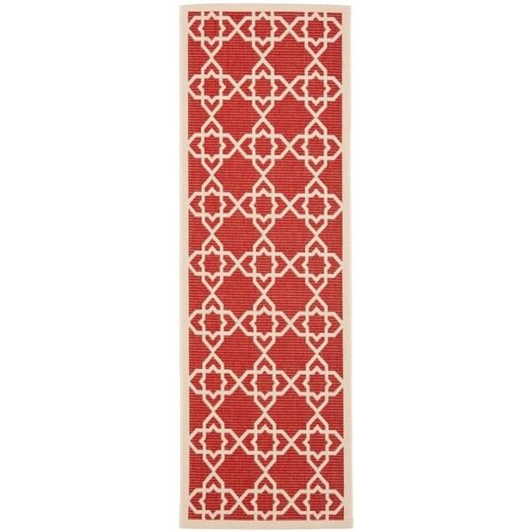 """Safavieh Courtyard Geometric Trellis Red/ Beige Indoor/ Outdoor Rug - 2'3"""" x 12'"""