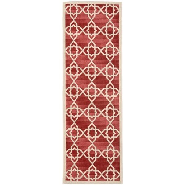 Safavieh Courtyard Geometric Trellis Red/ Beige Indoor/ Outdoor Rug (2'3 x 12')