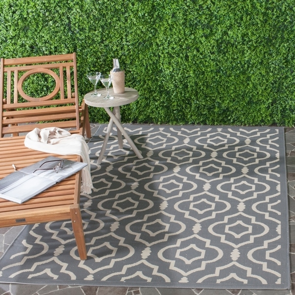 Black And White Geometric Rugs For Sale: Shop Safavieh Indoor/ Outdoor Courtyard Anthracite/ Beige