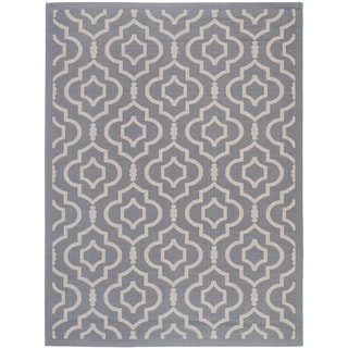 Safavieh Indoor/ Outdoor Courtyard Anthracite/ Beige Geometric Rug (5'3 x 7'7)