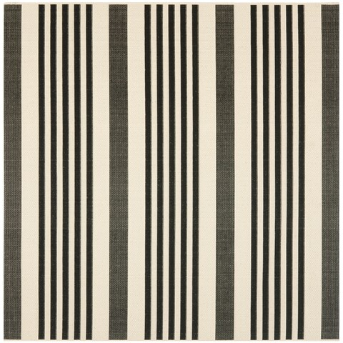 "Safavieh Courtyard Stripe Black/ Bone Indoor/ Outdoor Rug - 5'3"" x 5'3"" Square"