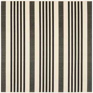 Safavieh Indoor/ Outdoor Courtyard Black/ Bone Rug (5'3 Square)