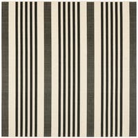 "Safavieh Courtyard Stripe Black/ Bone Indoor/ Outdoor Rug - 5'3"" x 5'3"" Square"