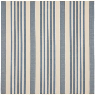 Safavieh Courtyard Stripe Beige/ Blue Indoor/ Outdoor Rug (4u0027 Square)