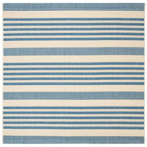 Safavieh Courtyard Stripe Beige/ Blue Indoor/ Outdoor Rug - 4' x 4' Square