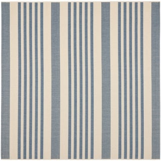 Safavieh Courtyard Stripe Beige/ Blue Indoor/ Outdoor Rug (5'3 Square)