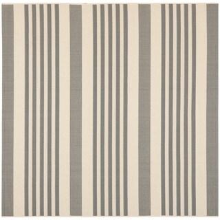 Safavieh Courtyard Stripe Grey/ Bone Indoor/ Outdoor Rug (4' Square)