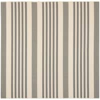 Safavieh Courtyard Stripe Grey/ Bone Indoor/ Outdoor Rug - 4' Square