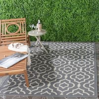 Safavieh Indoor/ Outdoor Courtyard Anthracite/ Beige Area Rug - 6'7 x 9'6