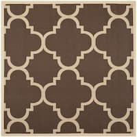 Safavieh Courtyard Quatrefoil Dark Brown Indoor/ Outdoor Rug - 5'3 Square
