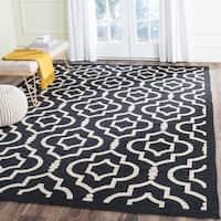 Safavieh Contemporary Indoor/ Outdoor Courtyard Black/ Beige Rug - 9' x 12'