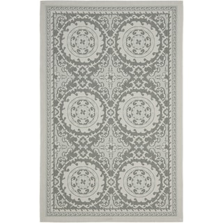 Safavieh Indoor/ Outdoor Courtyard Light Grey/ Anthracite Rug (4' x 5'7)