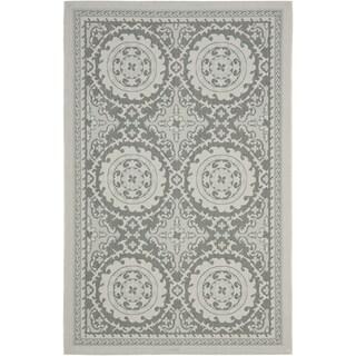 Safavieh Indoor/ Outdoor Courtyard Light Grey/ Anthracite Rug (8' x 11')
