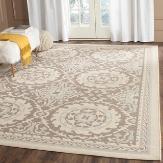 Safavieh Indoor/ Outdoor Courtyard Beige/ Dark Beige Rug (6'7 x 9'6)