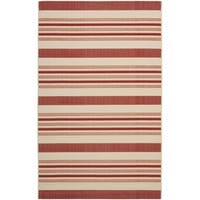 Safavieh Indoor/ Outdoor Courtyard Beige/ Red Rug - 2'7' x 5'