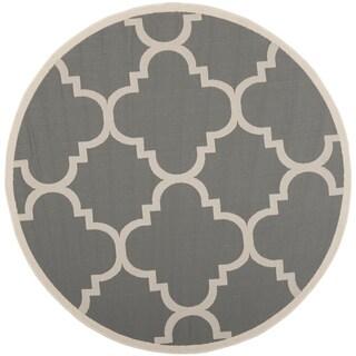 Safavieh Courtyard Quatrefoil Grey/ Beige Indoor/ Outdoor Rug (4' Round)