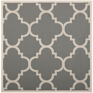 Safavieh Courtyard Quatrefoil Grey/ Beige Indoor/ Outdoor Rug (4' Square)