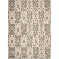 Safavieh Indoor/ Outdoor Courtyard Beige/ Aqua Weft Rug - 8' x 11'