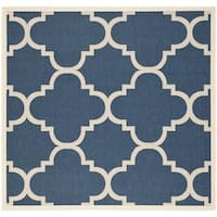 "Safavieh Courtyard Quatrefoil Navy/ Beige Indoor/ Outdoor Rug - 7'10"" x 7'10"" square"