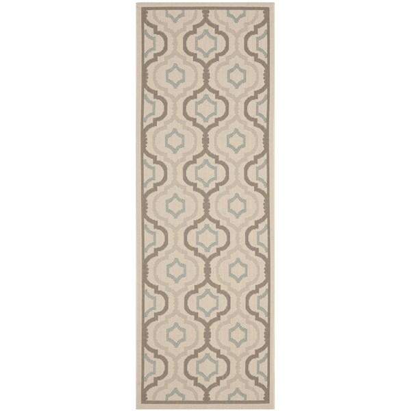 Safavieh Indoor/ Outdoor Courtyard Beige/ Dark Beige Rug (2'3 x 8')