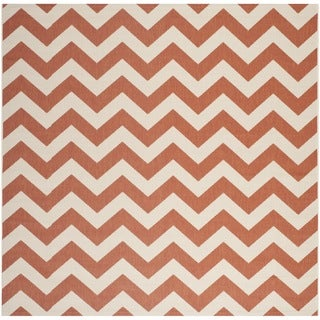 Safavieh Courtyard Chevron Terracotta/ Beige Indoor/ Outdoor Rug (5u00273  Square)