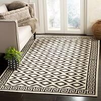 Safavieh Hand-woven Moroccan Reversible Dhurrie Ivory/ Black Wool Rug - 5' x 8'