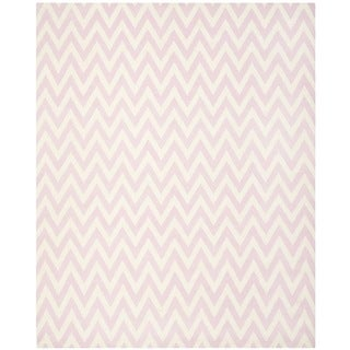 Safavieh Hand-woven Moroccan Reversible Dhurrie Pink/ Ivory Wool Rug (10' x 14')