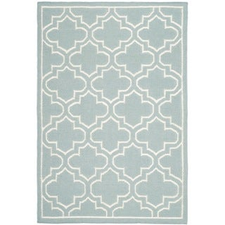 Safavieh Hand-woven Moroccan Reversible Dhurrie Blue/ Ivory Wool/ Banana Silk Rug (5' x 8')