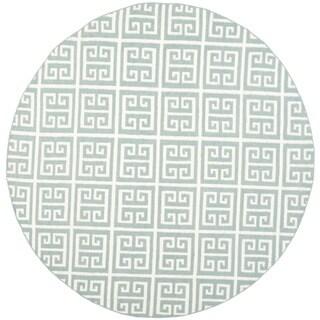 Safavieh Hand-woven Moroccan Reversible Dhurrie Blue/ Ivory Wool/ Banana Silk Rug - 7' Round