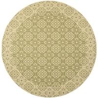 Safavieh Courtyard Elegance Green/ Cream Indoor/ Outdoor Rug - 7'10 Round