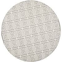 Safavieh Grey/ Ivory Handwoven Moroccan Reversible Dhurrie Contemporary Wool/ Banana Silk Rug - 7' Round