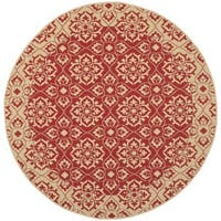 Safavieh Courtyard Elegance Red/ Cream Indoor/ Outdoor Rug - 5'3 round