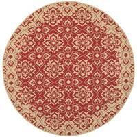 """Safavieh Courtyard Elegance Red/ Cream Indoor/ Outdoor Rug - 5'3"""" x 5'3"""" round"""