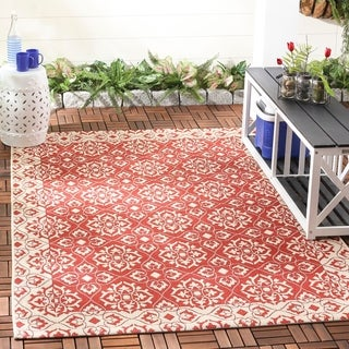 Safavieh Courtyard Elegance Red/ Cream Indoor/ Outdoor Rug (9' x 12')