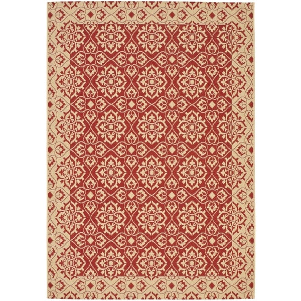 Safavieh Courtyard Elegance Red/ Cream Indoor/ Outdoor Rug (9' x 12')