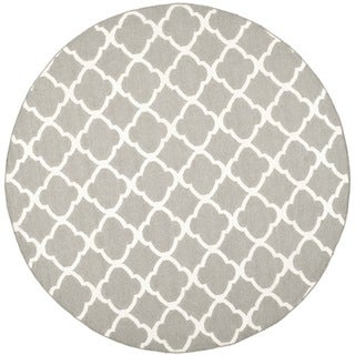 Safavieh Grey/ Ivory Handwoven Moroccan Reversible Dhurrie Wool/ Banana Silk Area Rug (7' Round)