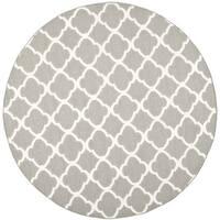 Safavieh Grey/ Ivory Handwoven Moroccan Reversible Dhurrie Wool/ Banana Silk Area Rug - 7' Round