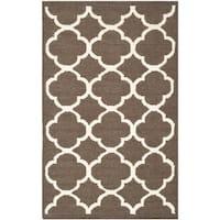 Safavieh Hand-woven Moroccan Reversible Dhurrie Brown/ Ivory Wool/ Banana Silk Rug (3' x 5') - 3' x 5'