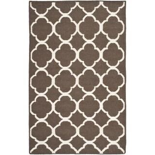 Safavieh Hand-woven Moroccan Reversible Dhurrie Brown/ Ivory Wool/ Banana Silk Rug (5' x 8')