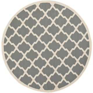Safavieh Courtyard Moroccan Trellis Anthracite/ Beige Indoor/ Outdoor Rug (4' Round)