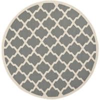 Safavieh Courtyard Moroccan Trellis Anthracite/ Beige Indoor/ Outdoor Rug - 4' Round