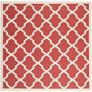 Safavieh Courtyard Moroccan Trellis Red/ Bone Indoor/ Outdoor Rug - 4' Square