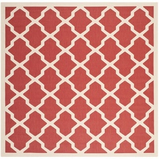 Safavieh Courtyard Moroccan Trellis Red/ Bone Indoor/ Outdoor Rug (5'3 Square)