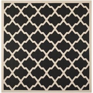 Safavieh Indoor/ Outdoor Courtyard Black/ Beige Rug (4' Square)